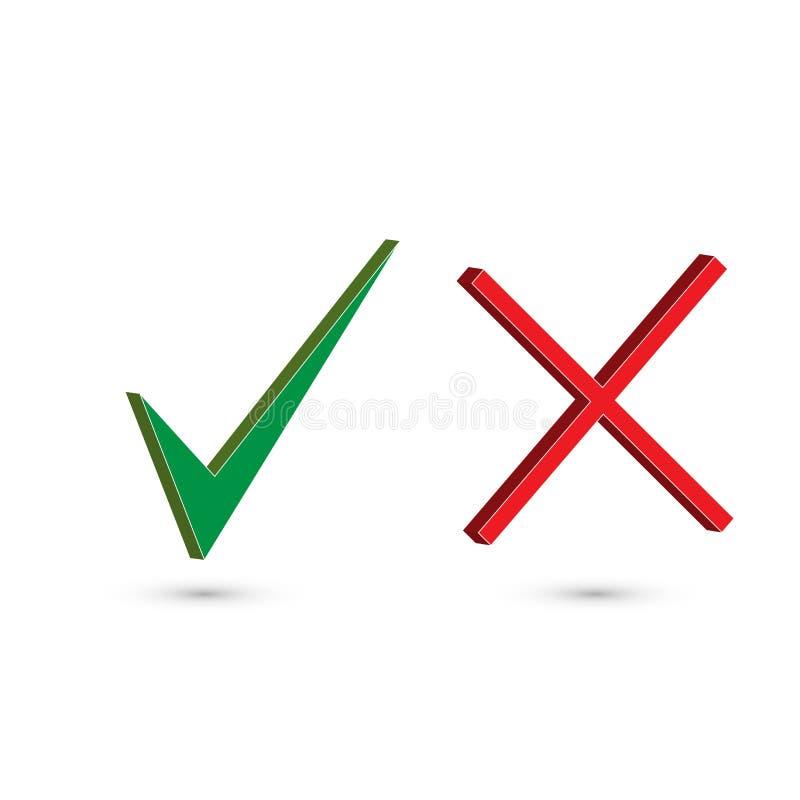 Rot und Grün Satz von zwei einfachen Netzknöpfen: grünes Häkchen und rotes Kreuz Symbole JA und KEIN Knopf für Abstimmung, Entsch lizenzfreie abbildung