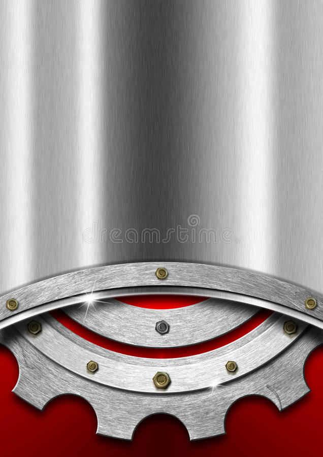 Rot und Metallhintergrund mit Gang stock abbildung