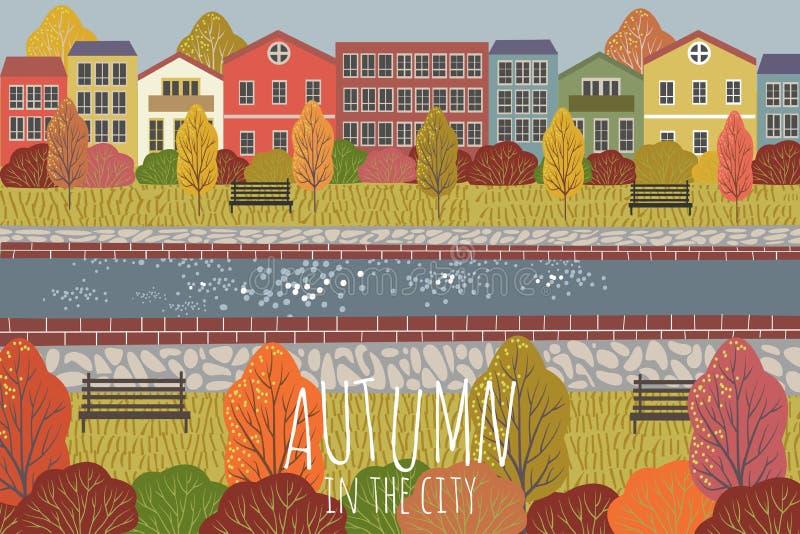 Rot und Orange f?rbt Efeublattnahaufnahme Nette flache Vektorillustration der Stadtlandschaft mit Häusern, Fluss, Bänke und Bäume stock abbildung