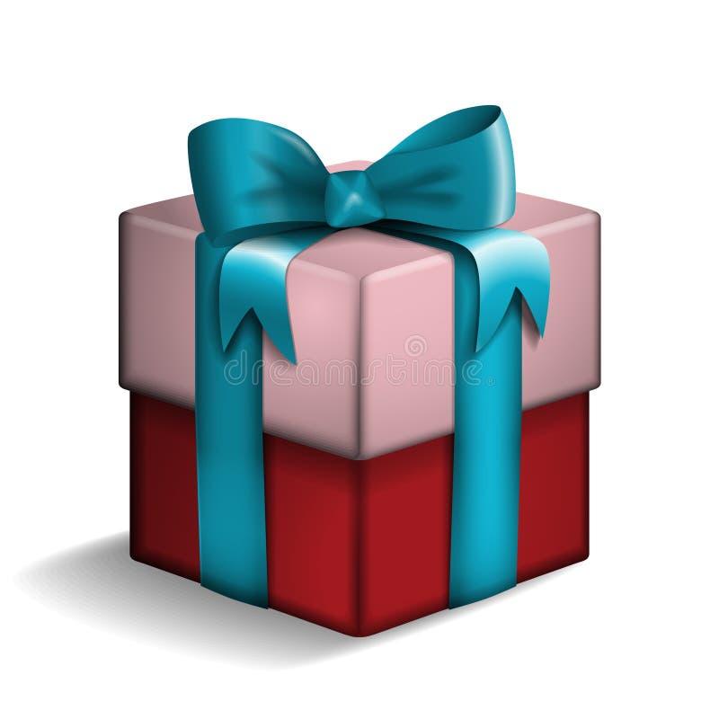 Rot und rosafarbene Geschenkbox stock abbildung