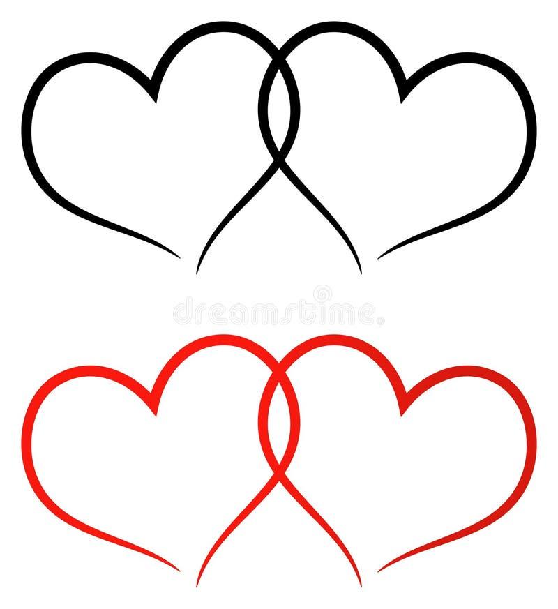 Rot und schwärzen Sie den Clipart mit zwei Herzen vektor abbildung