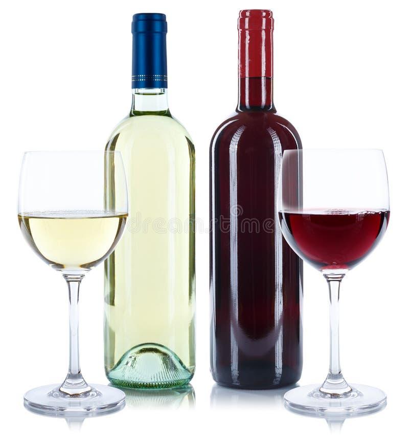 Rot- und Weißweinflaschengetränkeglasquadrat lokalisiert stockbild