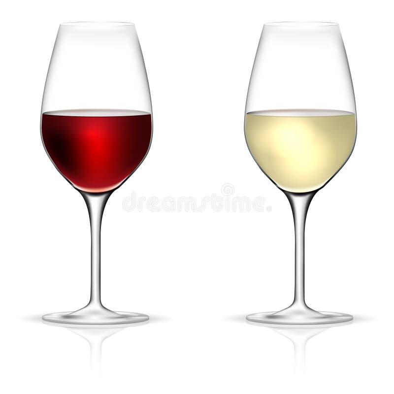 Rot und Weißweingläser lokalisiert auf weißem Hintergrund stock abbildung