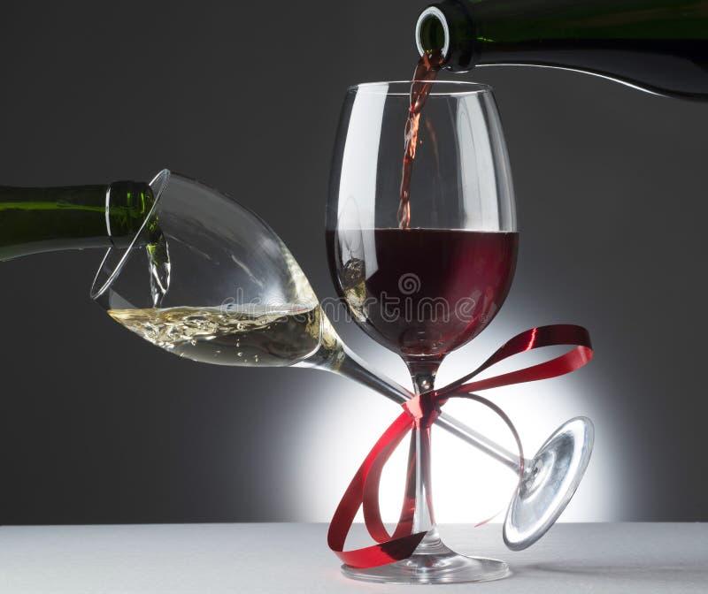 Rot- und whiytewein stockfotografie