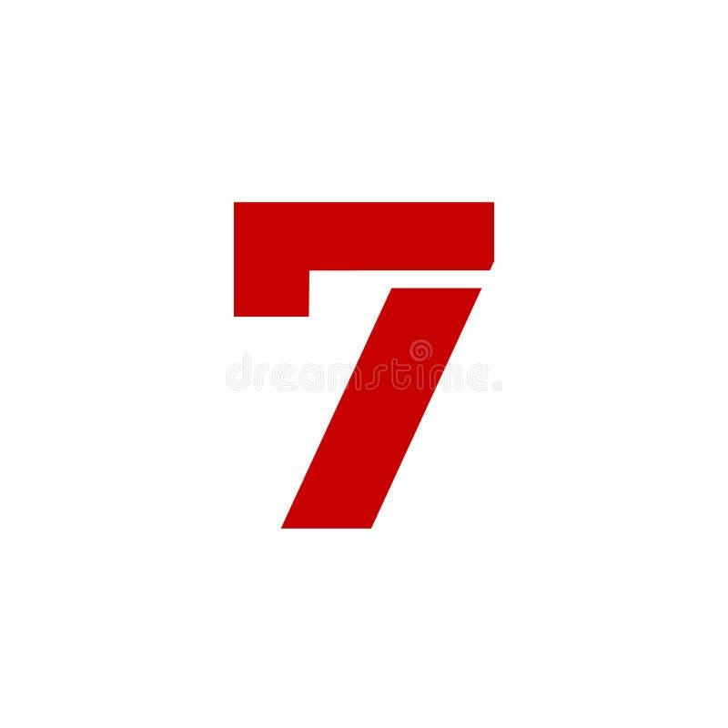 Rot Vektor-Logo Numbers 7 lizenzfreie abbildung