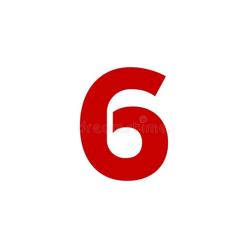 Rot Vektor-Logo Numbers 6 lizenzfreie abbildung