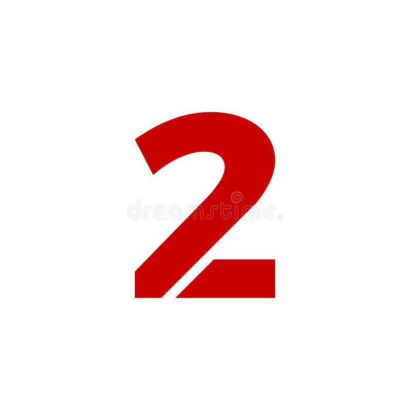 Rot Vektor-Logo Numbers 2 lizenzfreie abbildung