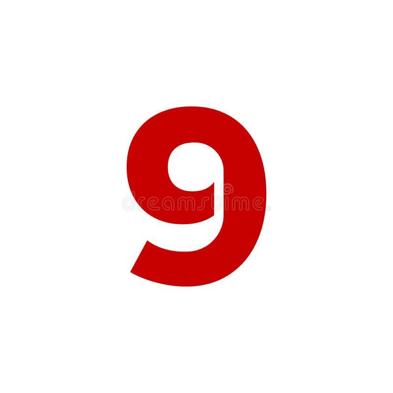 Rot Vektor-Logo Numbers 9 stock abbildung