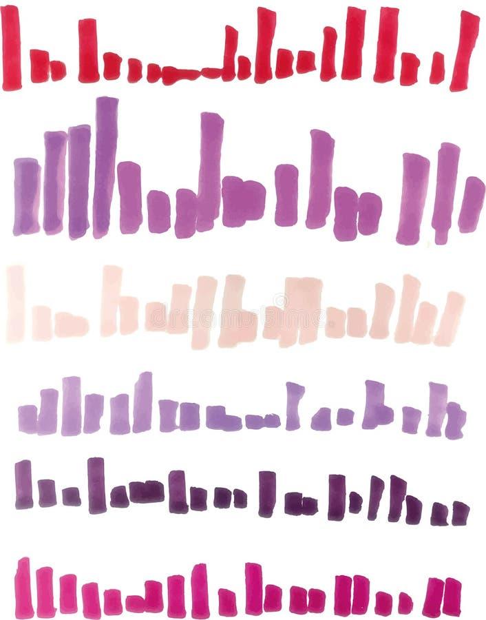Rot, violett, Rosahöhepunktstreifen, Fahnen gezeichnet mit Markierungen stock abbildung