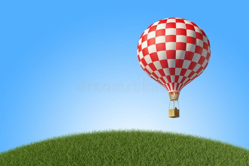 Rot-weißer Heißluft-Ballon im blauen Himmel lizenzfreie abbildung