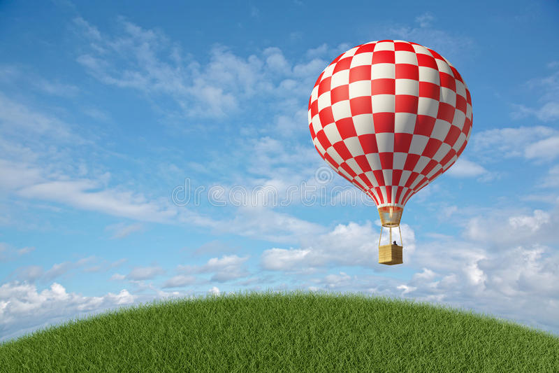Rot-weißer Heißluft-Ballon im blauen Himmel stock abbildung