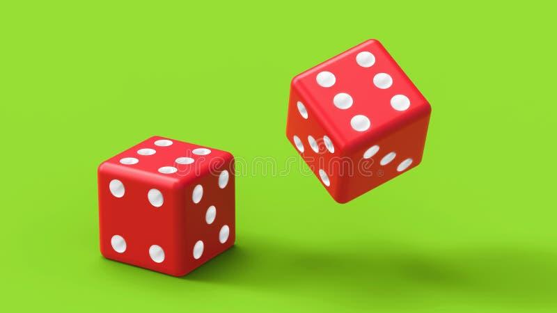 Rot zwei würfelt Rolle auf grüner Tabelle Wiedergabe 3d lizenzfreie abbildung