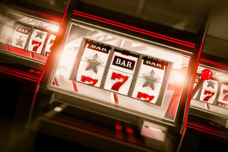 A rotação 3D do slot machine rende ilustração do vetor