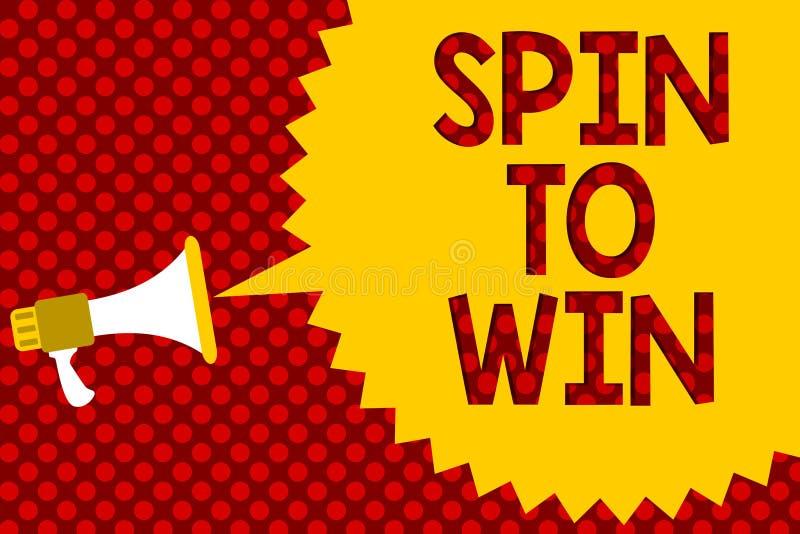 Rotação da exibição do sinal do texto a ganhar A tentativa conceptual da foto seus jogos de jogo da loteria do casino da fortuna  ilustração stock