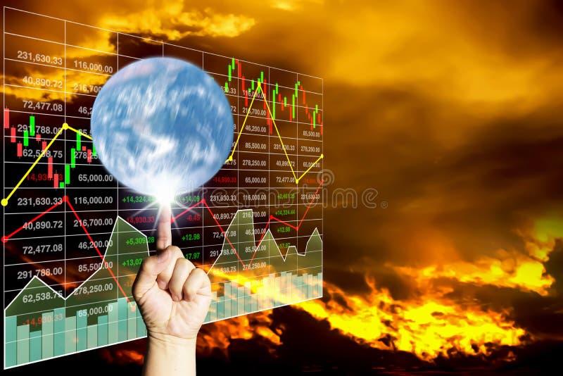 Rotação do dedo a terra na análise dos dados conservados em estoque fotos de stock royalty free