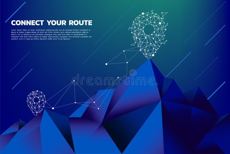 Rota à parte superior da montanha: O conceito do objetivo, missão, visão, carreira profissional, ponto do polígono conecta a linh ilustração royalty free