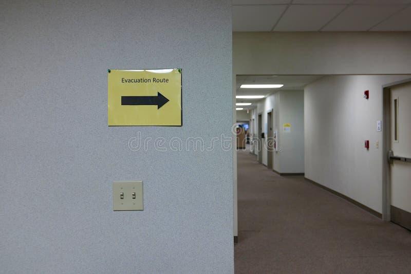 Rota da evacuação do escritório fotografia de stock royalty free