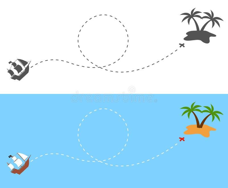 A rota da navigação do navio de pirata à ilha ilustração do vetor