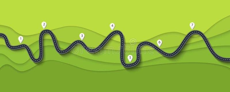 Rota da viagem por estrada e da viagem Estrada de enrolamento em um fundo colorido com ponteiro do pino ilustração royalty free