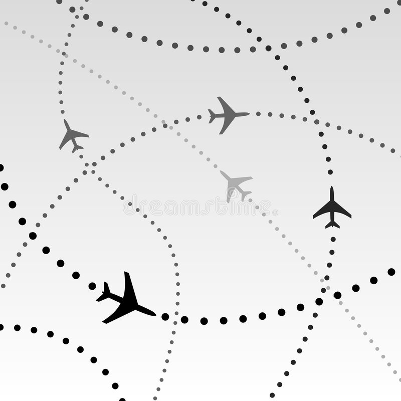 Rota de vôo das linhas aéreas dos aviões no céu ilustração do vetor