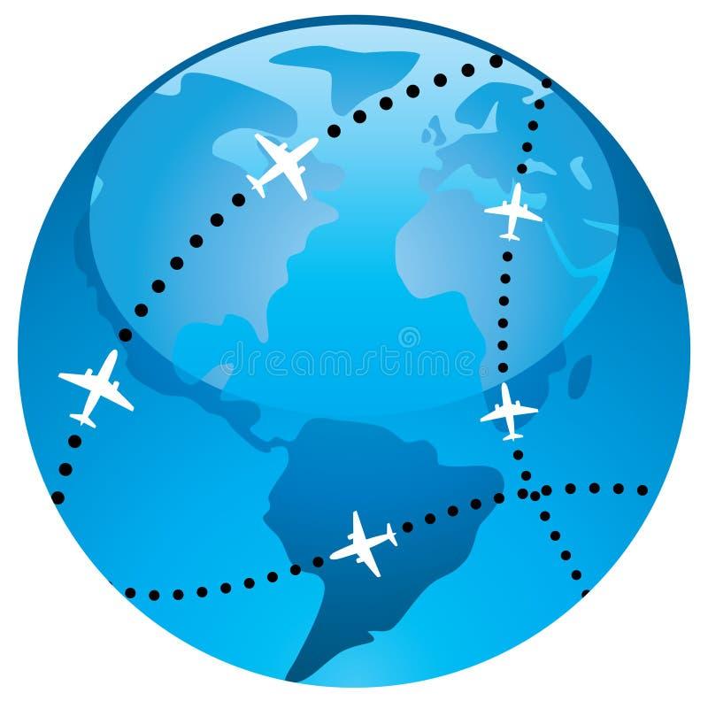 Rota de vôo do avião ilustração do vetor