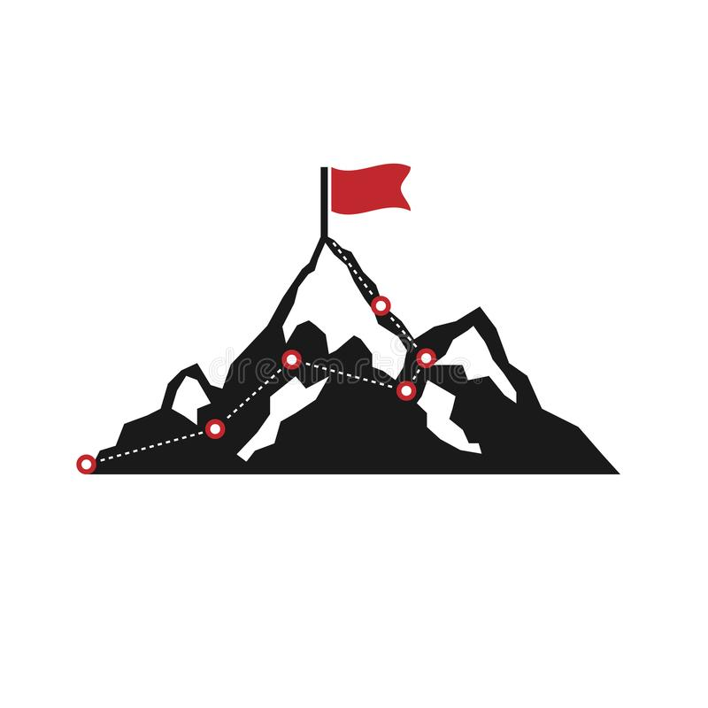 Rota do alpinismo a repicar Rota à parte superior da montanha Isolado no fundo branco Ilustração do vetor ilustração stock