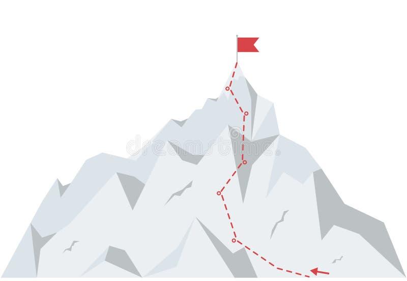 Rota do alpinismo a repicar Trajeto da viagem do negócio ao sucesso Ilustração do vetor no estilo liso ilustração royalty free