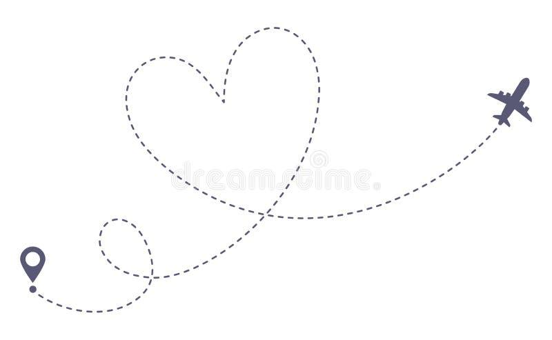 Rota do avião do amor Curso romântico, linha tracejada traço do coração e rotas planas ilustração isolada do vetor ilustração stock