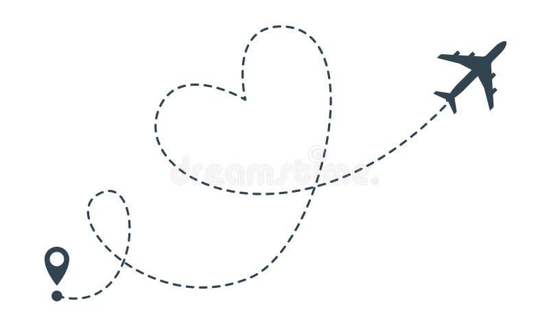 Rota do avião do coração Pino do lugar do voo do coração do avião do vetor, curso e ícone da entrega ilustração royalty free