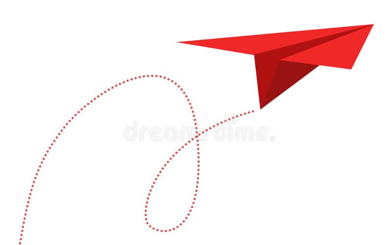 Rota do avião na linha forma pontilhada ilustração royalty free