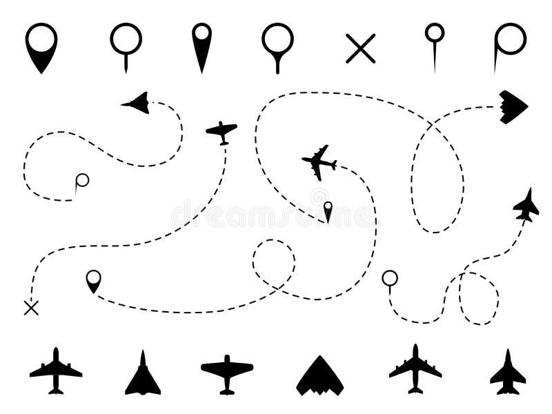 Rota do avi?o A linha de traço plana, caminhos dos aviões migra as linhas, planejando rotas viaja ponteiros trafica o trajeto da  ilustração stock