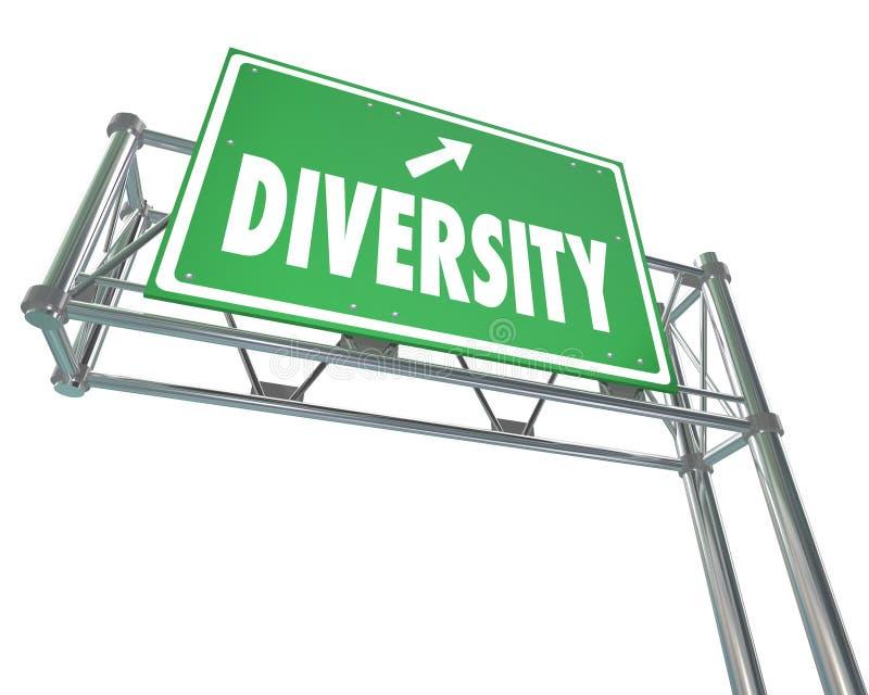 Rota do sinal da saída do verde da autoestrada da diversidade à paz Harmony Accepta ilustração royalty free