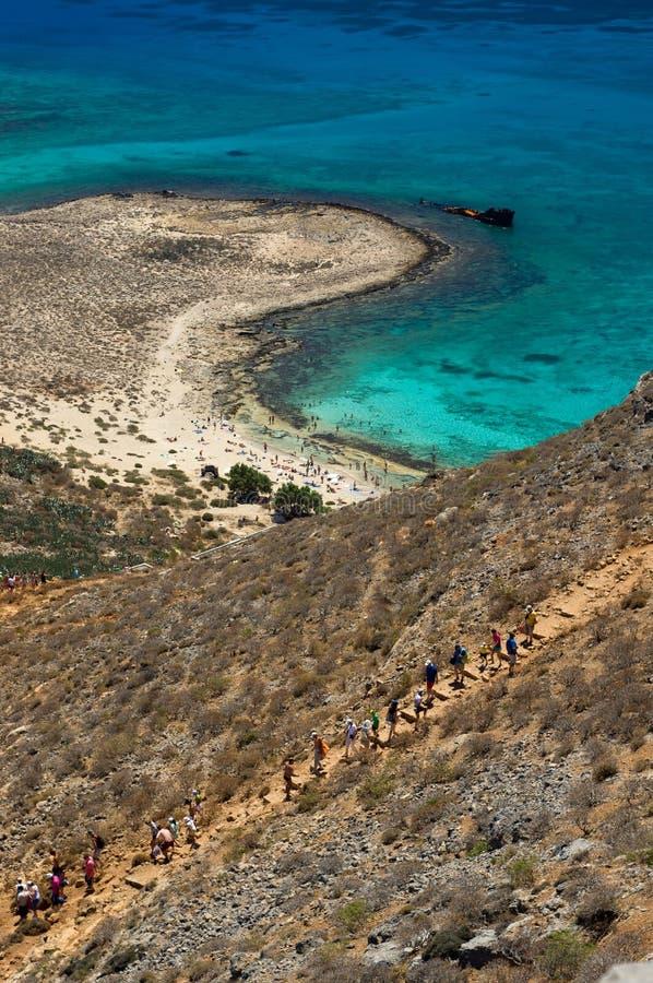Rota do turista, ilha de Gramvousa fotografia de stock royalty free