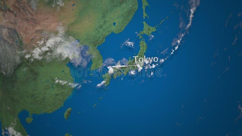 Rota do voo comercial do avião do Tóquio a Deli no globo da terra Animação internacional da introdução da viagem ilustração stock
