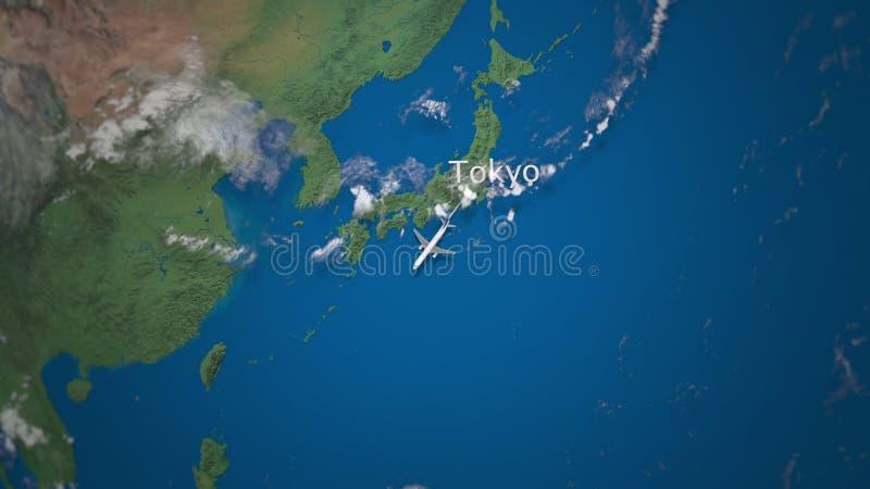 Rota do voo comercial do avião do Tóquio a Jakarta no globo da terra Animação internacional da introdução da viagem ilustração stock