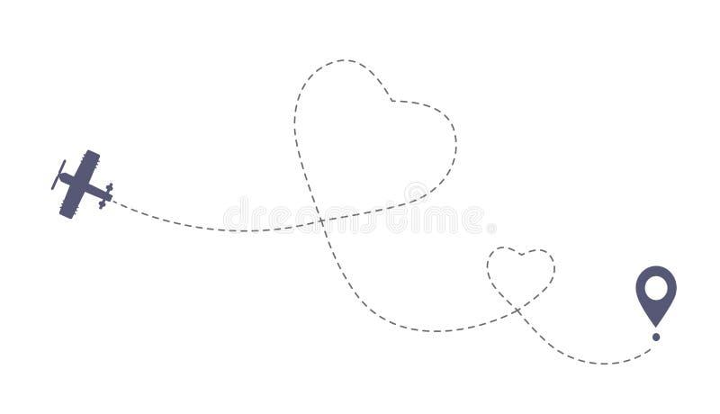 Rota dobro do avião do amor O simbol romântico do curso, coração precipitou a linha traço ilustração royalty free