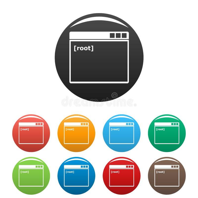 Rota fastställd färg för fönstersymboler vektor illustrationer