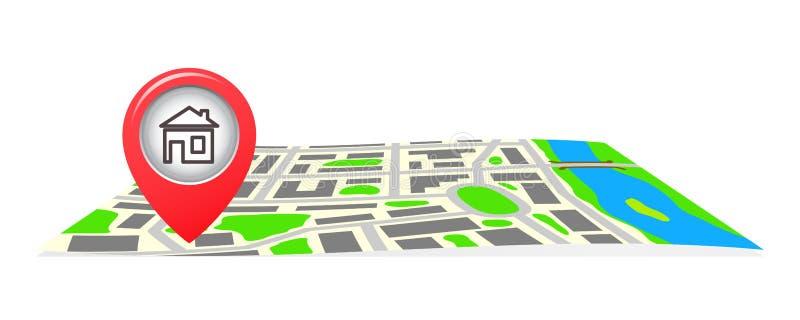 A rota no mapa da cidade ilustração royalty free