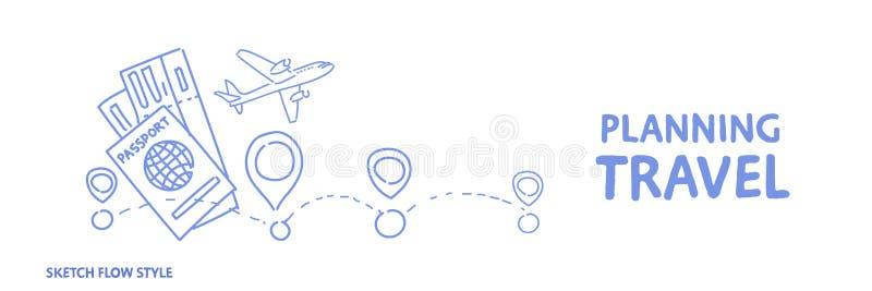 Rota planejando do feriado do conceito do curso que escolhem o hotel e bilhetes que registram a bandeira horizontal do estilo do  ilustração stock