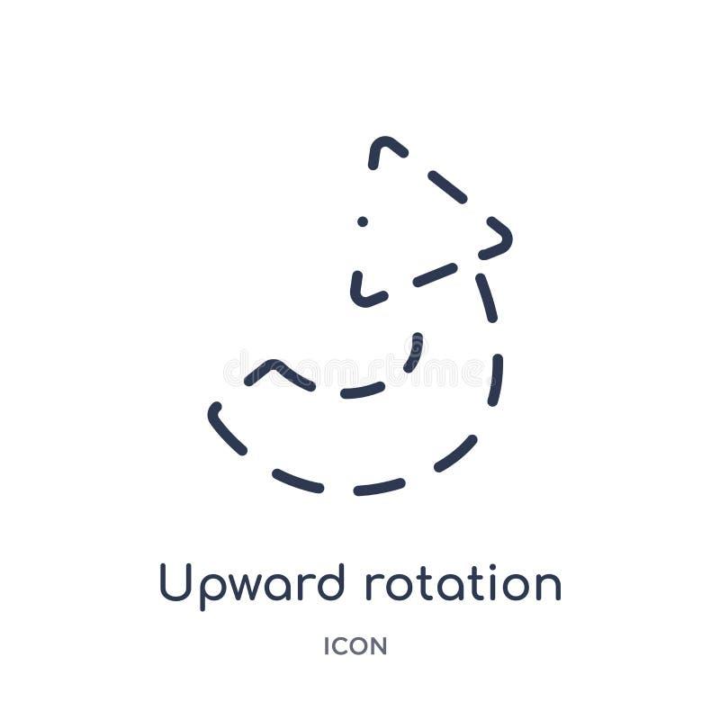 rotación ascendente con el icono quebrado de la colección del esquema de la interfaz de usuario Línea fina rotación ascendente co libre illustration