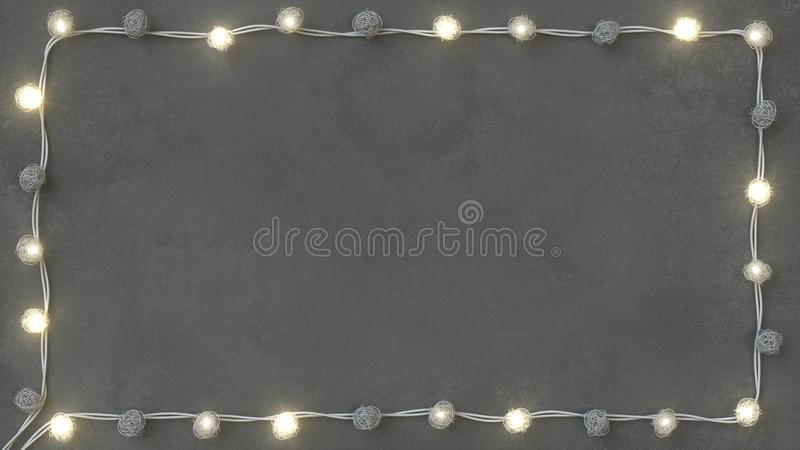 Rotang string lights on concrete background 3D render. Rotang string lights on concrete background. 3D rendering illustration stock illustration