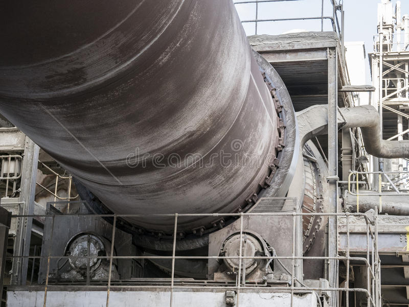 Rotary Cement Kiln. Steel rotary kiln at the Hanson UK, Ribblesdale Cement Works, Clitheroe royalty free stock photos