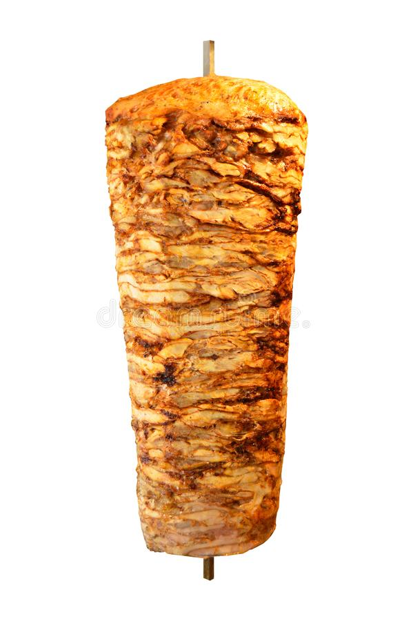 Rotary cooked Turkish chicken doner kebab. Delicious dishes of Turkish cuisine doner kebab. Rotary cooked. Isolated on white background stock image