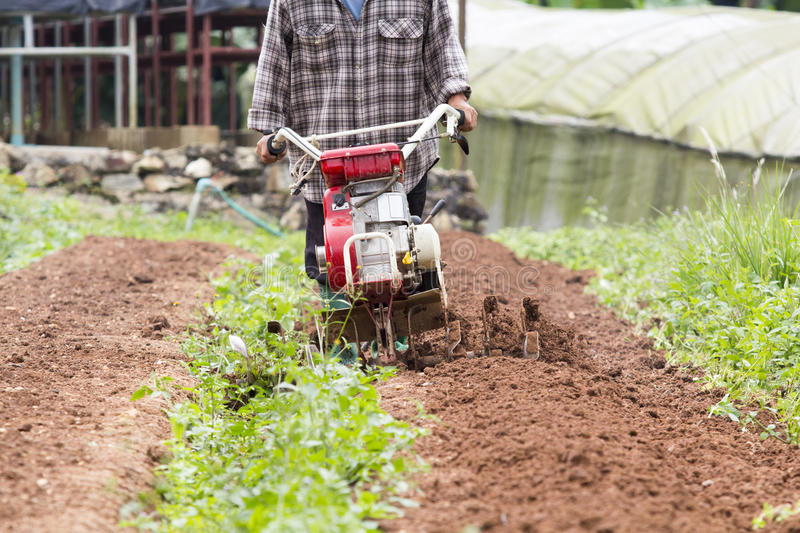 Rotary cultivator working in garden stock photo