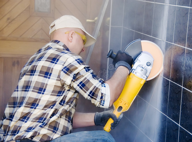 Download Rotary drill/saw in action stock photo. Image of tiles - 3305616