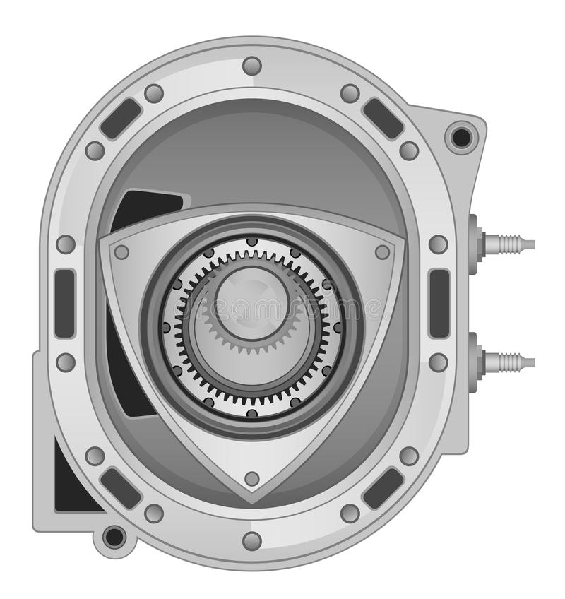 Rotary engine. On a white background vector illustration