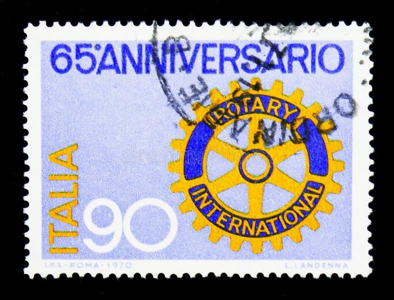 Rotary International, sessantacinquesimo serie di anniversario, circa 1970 fotografie stock libere da diritti