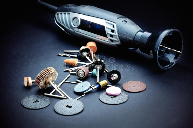 Rotary tools with accessory. A lot of different rotary tool royalty free stock photos