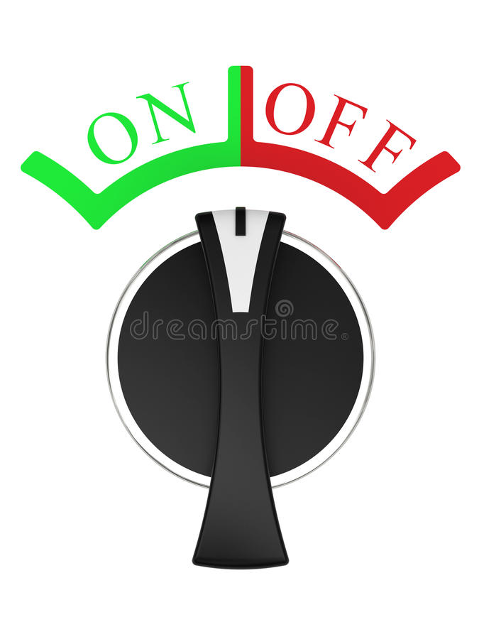 Rotary vertical on-off switch isolated on white vector illustration
