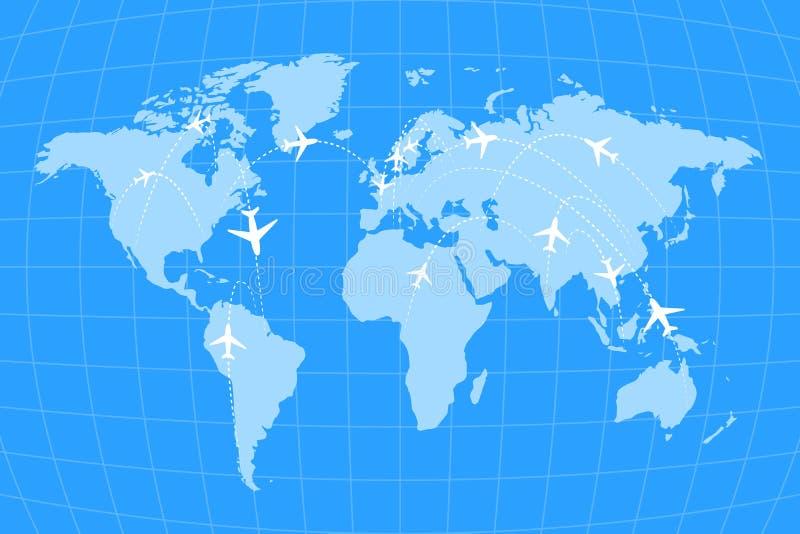 Rotas da linha aérea em infographic mundial do mapa, o azul e o branco ilustração do vetor